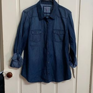 NWT Women's Sonoma XL Denim shirt